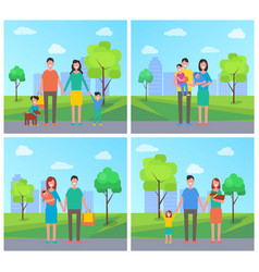Family with children and dog on walk in city park vector