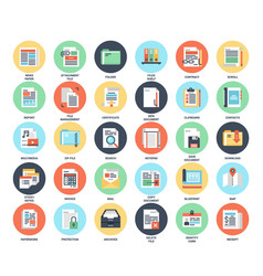 files and documents flat icons vector image