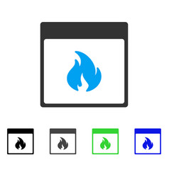 Fire calendar page flat icon vector