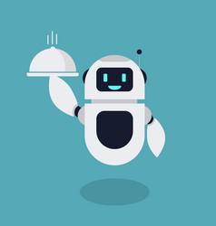flat robot serve food mascot vector image