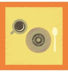 Flat shading style icon coffee cup donut vector