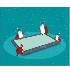 funny little santas over digital tablet vector image