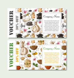 gift voucher template with spa elements in hand vector image