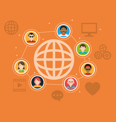 Global people connection social media items vector