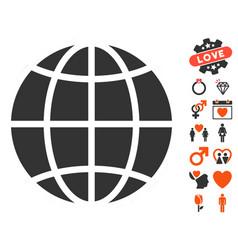 Globe icon with love bonus vector