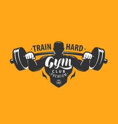 gym club logo or emblem bodybuilding fitness vector image