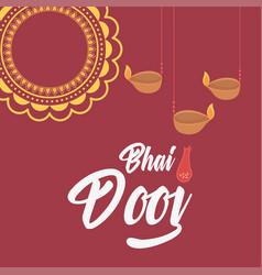 happy bhai dooj indian family celebration mandala vector image
