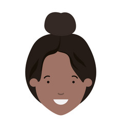 head of woman afro avatar character vector image