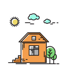 house in nature a tree icon vector image