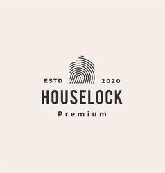 house lock finger print hipster vintage logo icon vector image