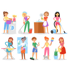 Housewife woman housekeeping and holding vector