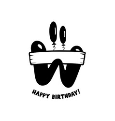 Initial birthday w letter happy birthday monogram vector
