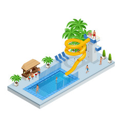 Isometric aqua park with water slides water pool vector