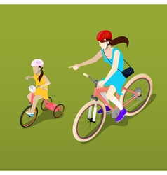 Isometric People Isometric Bicycle Mother vector image