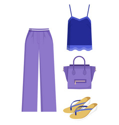Lilac trousers and handbag blue shirt color card vector