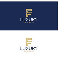 luxury logo f modern style vector image