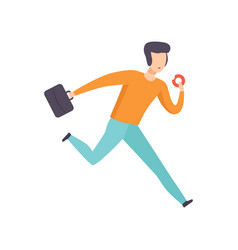 Man in casual clothes running with briefcase and vector