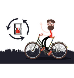 man on bicycle with sand clock vector image