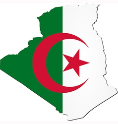 Map of Algeria with national flag vector image