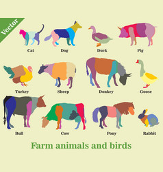 Mosaic farm animals and birds silhouettes vector