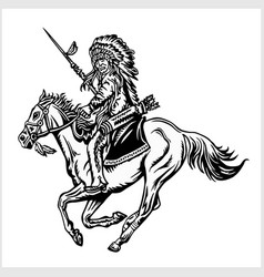 native american - rider on horse vector image