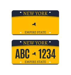 New york licence plate american metal vehicle vector