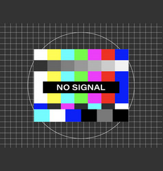 No signal distorted glitch tv descendant network vector