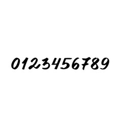Numbers from 0 to 9 black isolated on white vector