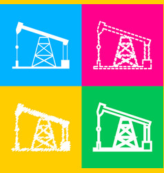 oil drilling rig sign four styles of icon on four vector image