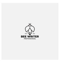 Old pen with bee logo design line vector