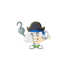 One hand pirate chinese folding fan wearing hat vector