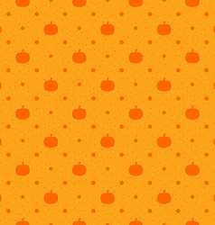 Orange seamless polka dots pattern with pumpkin vector