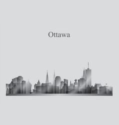 Ottawa city skyline silhouette in grayscale vector