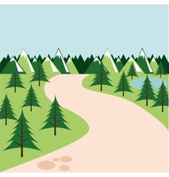 Pine trees landscape icon vector