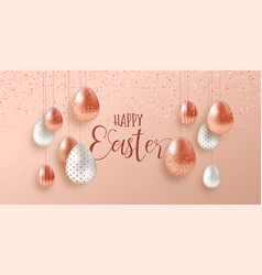 pink copper easter eggs luxury greeting card vector image