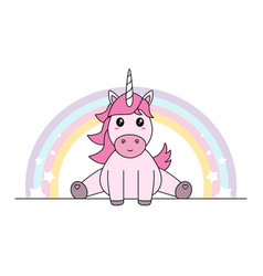 Pink unicorn with rainbow sitting pastel colors vector
