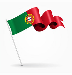 Portuguese pin wavy flag vector