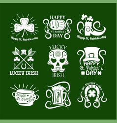 Saint patrick symbols and logos set vector