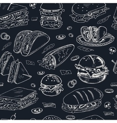 Sandwiches seamless pattern vector