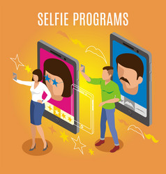 Selfie programs isometric background vector