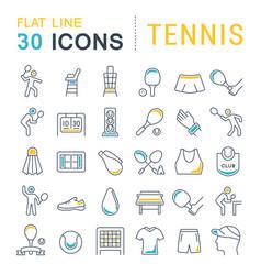 Set line icons tennis vector