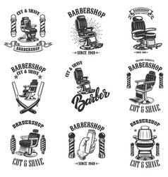 set of vintage barber shop emblems with barber vector image