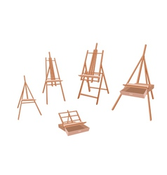 Set of Wooden Easel on White Background vector image