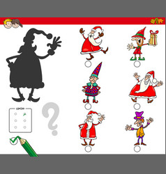 shadows game with christmas characters vector image