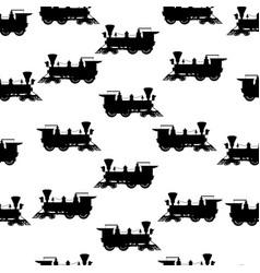Silhouette steam locomotive seamless background vector