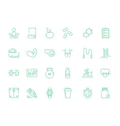 sport icons health fitness nutrition and items vector image