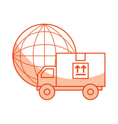 Truck delivery with planet service icon vector