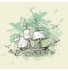 Vintage background with sailing vessel vector