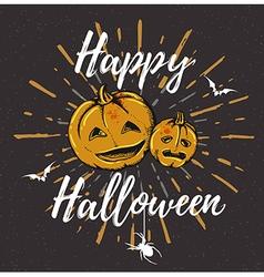 Vintage black Halloween background with pumpkins vector