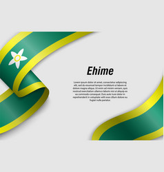 Waving ribbon or banner with flag prefecture of vector